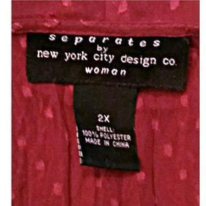New York City Design Co Tops - New York City Design Co Fuchsia Ruffle Top 2X